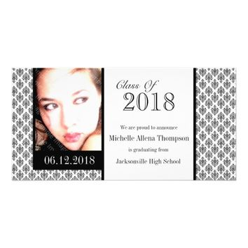 2018 White Damask Graduation Announcement