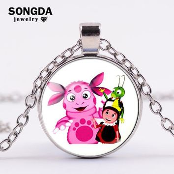 SONGDA Russian Luntik Series Long Chain Necklace Luntik and Friends Cartoon Photo Glass Cabochon Necklace Kids Jewelry Best Gift