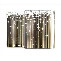The Gold & White Shimmer Strips Skin Set for the Apple iPad Air 2