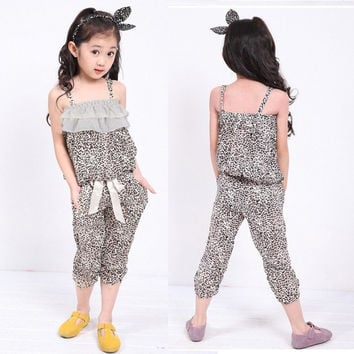 Girls Kid Leopard Summer Top Vest+Pants 2pc Outfit Clothes Set 4-11Y Suit  D_L = 1713288324