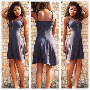A Lilith Strappy Dress in Dusty Teal
