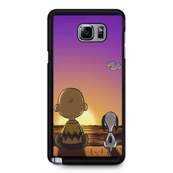 Snoopy And Charlie Brown Sunset Samsung Galaxy Note 5 Case