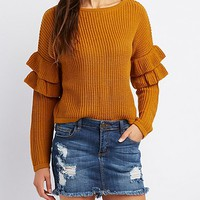 Shaker Stitch Ruffle-Trim Cropped Sweater