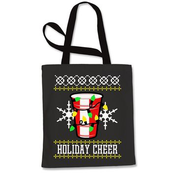 Holiday Cheer Red Cup Ugly Christmas Shopping Tote Bag