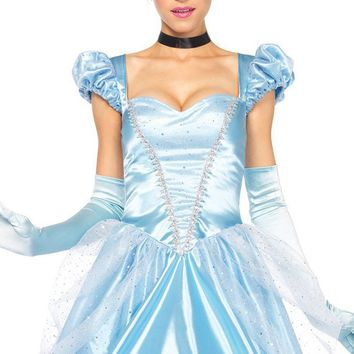 Perfect Princess Blue Satin Puff Cap Sleeves Sweetheart Neck Glitter Tulle Full A Line Ball Gown Maxi Dress Halloween Costume