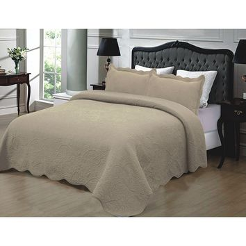 California King 3-Piece Quilted Bedspread 100% Cotton in Taupe