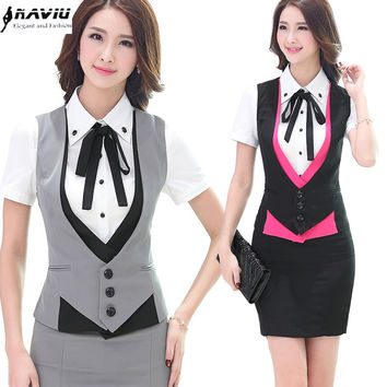 2015 Fashion business career ladies vest skirt work wear uniforms Slim V-Neck Formal suit skirt women office plus size Vest suit