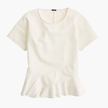 J.Crew Womens Structured Flutter-Hem T-Shirt