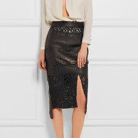 Ronald Van Der Kemp - Croc-effect leather and corded lace skirt