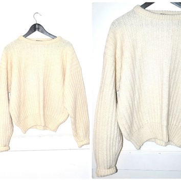 cream VIRGIN wool cable knit sweater vintage 80s 90s GRUNGE minimalist pull over UNISEX jumper medium