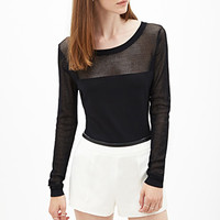 FOREVER 21 Mesh-Paneled Sweater