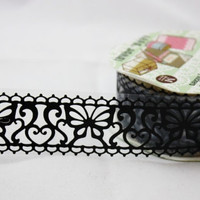 Victorian Black Lace Deco Tape  Die Cut heart by charmstore