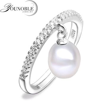 Real freshwater pearl rings for women,white cultured pearl ring 925 sterling silver jewelry mom birthday gift white adjustable