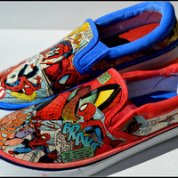 Custom Men's Shoes, Custom Spiderman Shoes, Men's Spiderman Shoes, Comic Book Shoes, DC Marvel Shoes, Xmas Gifts for Men, Black Friday SALE