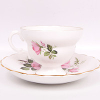 Vintage Wild Rose Teacup and Saucer Made in England Bone China Gold Crown Footed Tea Cup