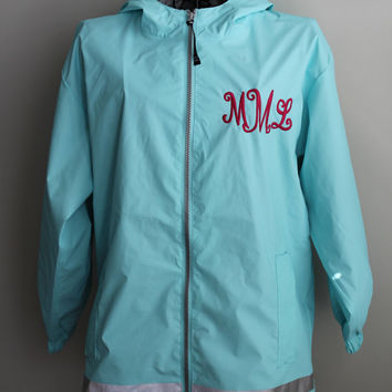 Monogrammed Rain Jacket-Charles River Rain Jacket-Youth Monogrammed Jacket-Youth Jacket-Personalized Full Zip Up Rain Jacket-Rain Jacket