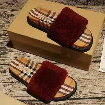 Burberry New fashion women and men sandals plaid slippers single shoe Burgundy