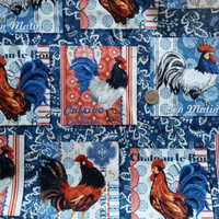 Chicken fabric Rooster material bandana print quilting cotton print squares sewing project crafting by the yard country farm animal quilt
