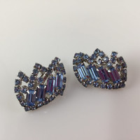 Kramer Earrings, Blue Rhinestone, Clip-on Earrings, Vintage Kramer of New York