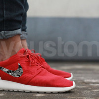 Nike Roshe Run Sport Red Metallic Silver Black Floral Supreme Print Custom Men & Women