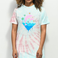 Pink Dolphin Waves Bloom Multi Tie Dye T-Shirt | Zumiez
