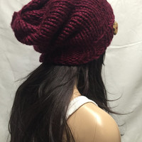 Knit Slouchy Hat Beanie Vegan Dark Red Burgundy Cranberry With Wood Button Warm And Cozy