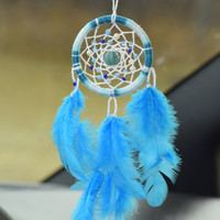 Car Decor, Rear View Mirror Charm, Blue  Car Dreamcatcher with Turquoise and glass beads, Boho Dream catcher