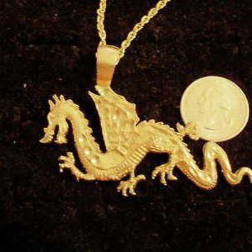 bling gold plated chinese fire dragon pendant charm rope chain hip hop necklace