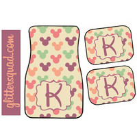 Colorful Mickey Mouse Heads  Inspired Car Mat / Car mat Monogram