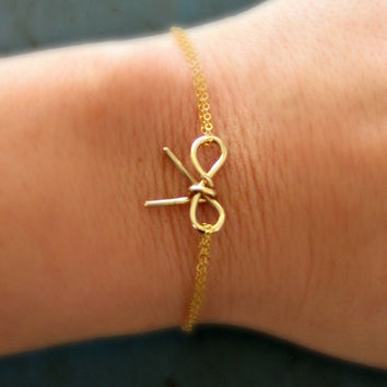 Gold Bow Bracelet Simple Minimalist Jewelry bridesmaid gifts