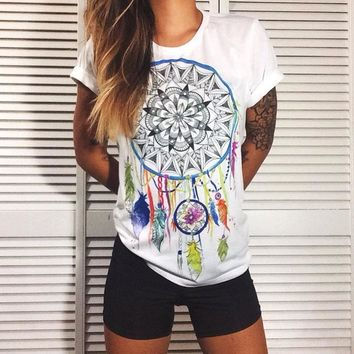 Strong Character Print Summer Stylish Tops Cotton T-shirts [37366890522]