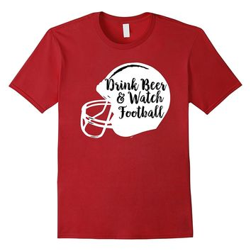 Drink Beer and Watch Football Helmet T-Shirt for Game Day