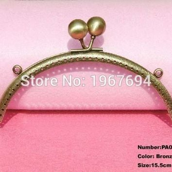 Free Shipping PA012 2pcs Blank Purse Frame Hanger 15.5cm Bronze Metal Clasps Purses Accessories Handles Handbags Diy Bag Parts