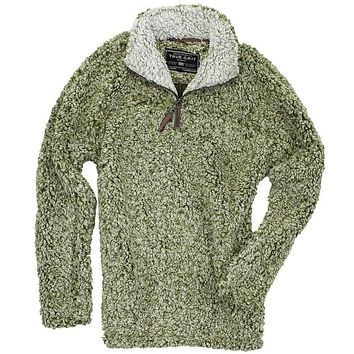 The Original Frosty Tipped Pile 1/2 Zip Pullover in Green by True Grit