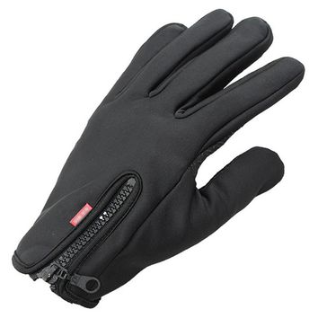 Classical Solid Color Zipper Windproof Skiing Gloves Men Warm-kepping Waterproof Leather Driving TouchScreen Gloves & Mittens