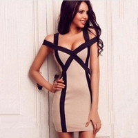 2015 Summer Women Dress Sexy Strapless Dress Sling Party Dresses Plus Size = 1753498244