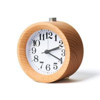 Orcbeg Alarm Clock Small Wooden Circular No Ticking With Snooze and Nightlight Backlight Digital Desk Alarm Clock/ Simple to Set Clocks/Battery Powered (LightWoodGrain)