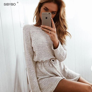 O Neck Long Sleeve Knitted Playsuit Women Elastic Waist Rompers Sexy Combinaison Femme Open Back Club Party Jumpsuits