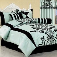 "7 Pc Modern Black Blue Flock Satin Comforter (90"" x 92"") SET / BED in a BAG - Queen Size Bedding:Amazon:Home & Kitchen"