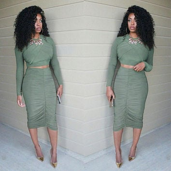 SEXY TWO PIECE GREEN DRESS