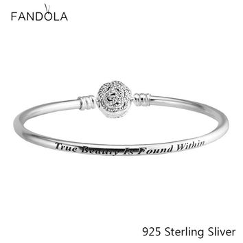 925 Sterling Silver Cartoon Beauty and Beast Rose Clasp Bangle Fit Bracelet For Women Jewelry Pulseras Plata De Ley Braccial
