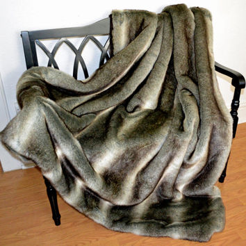 "Faux Fur Wolf Blanket Throw, Brown Faux Fur Blanket,  60"" x 72"",  Ready to Ship"