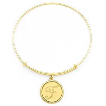 Alex and Ani Precious Initial F Charm Bangle - 14kt Gold Filled