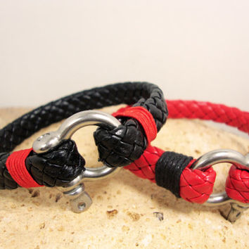 FREE SHIPPING - Couple Bracelet.  Men's  Leather Bracelet. Men Bracelet. Men's Bracelet. Men Leather Bracelet. unisex bracelet. Red Bracelet