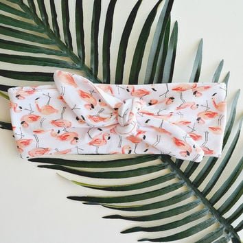 Flamingo Headband, Knot Headbands for Women, Jersey Headband, Top Knot Headband, Island Girl Collection by Feathers and Fancy Creations