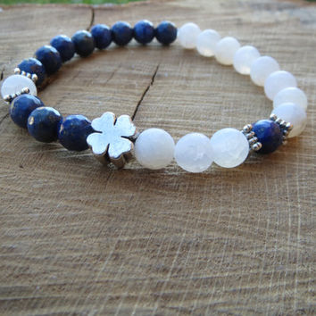 Mens Bracelet, Lucky Bracelet, Lapis Lazuli White Frost Agate Bracelet, Men Women Lucky Clover Gemstones Stretch Beaded Bracelet