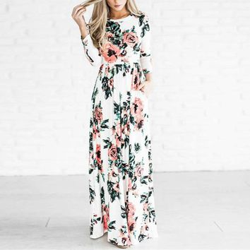 Women Florals Long Dress  Long Sleeve Slim Fit Flare Waist Party Pocket Dresses