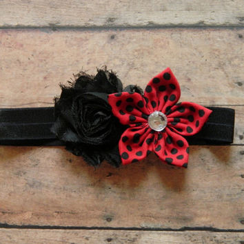Ladybug Headband, Baby Headband, Newborn Headband, Toddler Girl Headband, Shabby Chic Headband