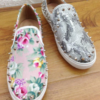 Womens Trendy Edgy Slip-On Spiked Casual Shoes