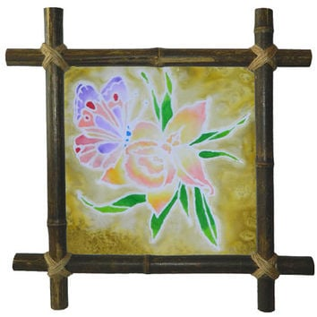 Butterfly batik painting Silk painting Framed drawing Bamboo frame Flower Painting Frames Butterflies Art Nature Wall hanging Original Decor